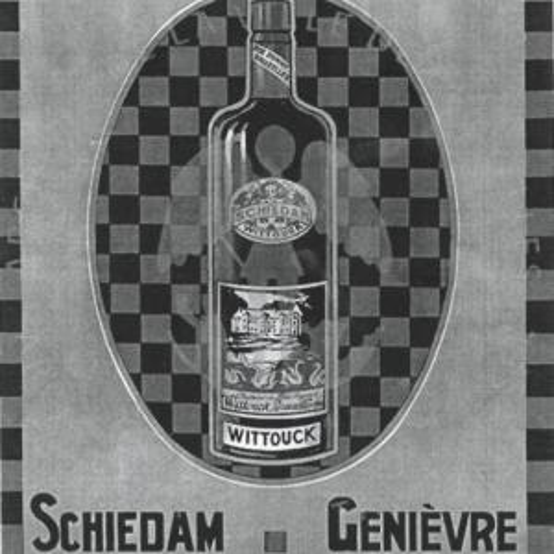 Reclame voor jenever van Wittouck, met op het etiket een afbeelding van het kasteel.